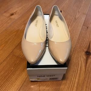 Nine West So Easy Yo Patent Nude Flats Size 7